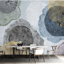 Wall Mural Wood-Grain Retro Sofa Annual-Ring Custom Minimalist Nordic TV Wellyu Background