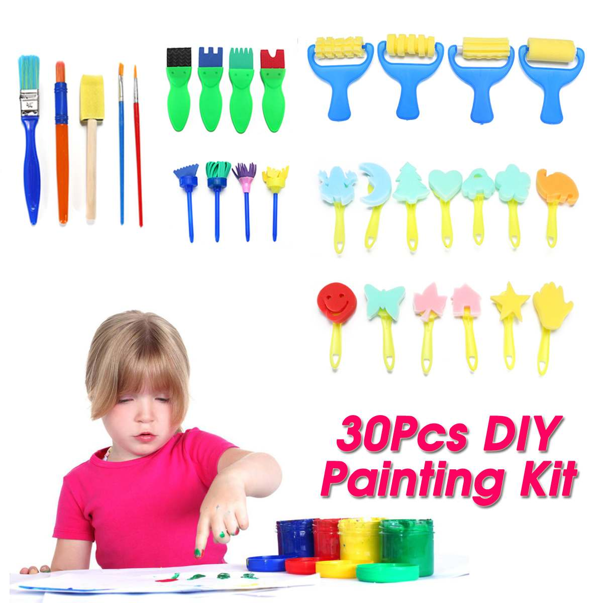 30pcs/set Diy Child Painting Tool Kit Roller Mold Sponge Drawing Writing Brush Mini Pattern Mold Toy Kids Gifts  Merry Christmas