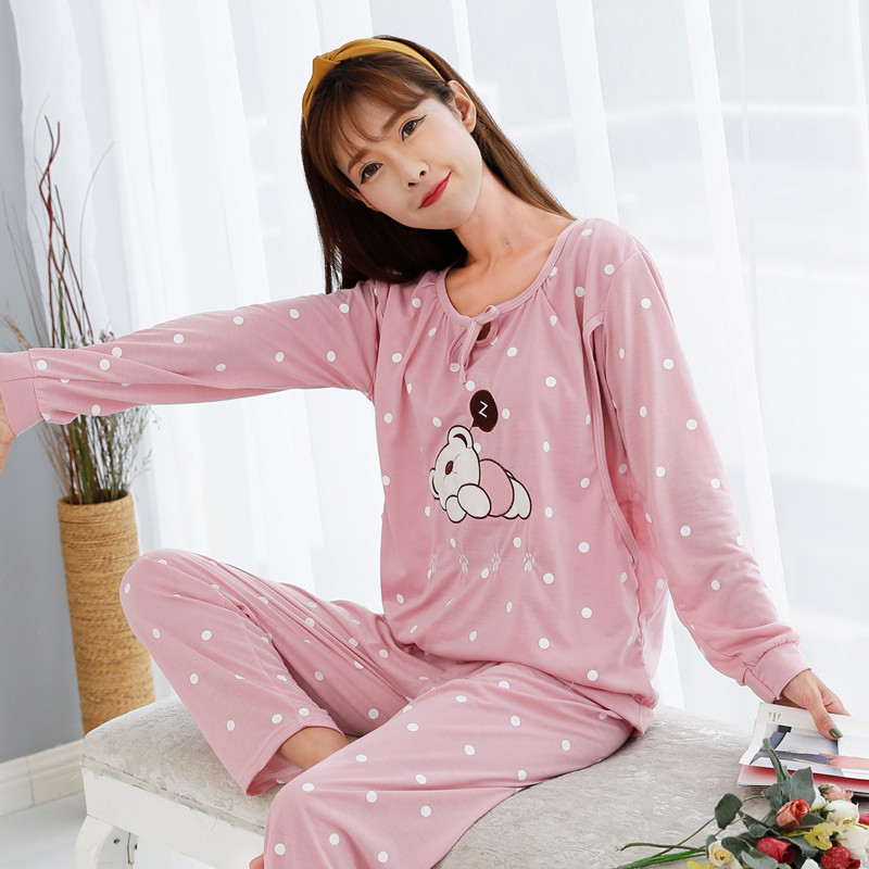 Summer Maternal Nursing Pajamas Confinement Clothing Spring And Autumn Pregnant Women Pajamas Long Sleeve Postpartum Outer Wear