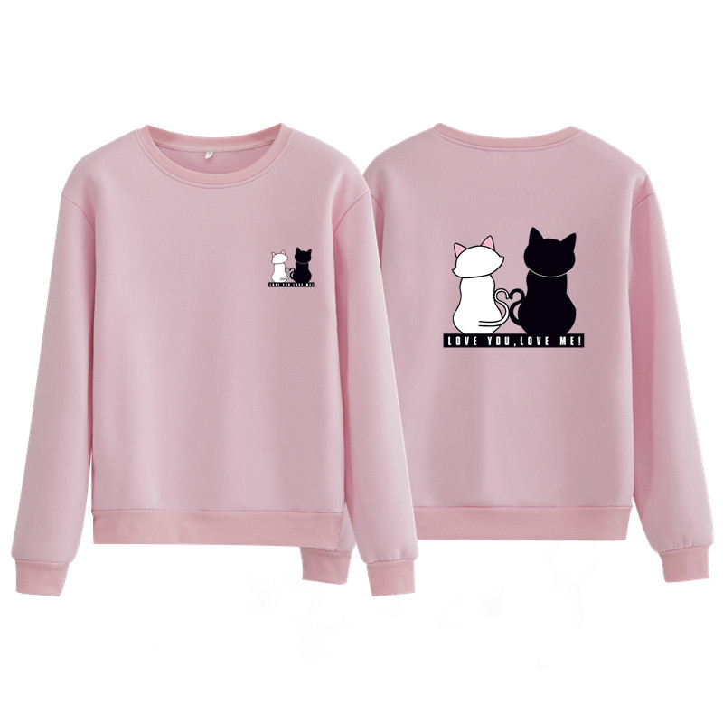 Sweatshirt Women Hoodies 2020 New Trend Spring Solid Pink O-neck Print Cat Hoody Woman Hoodies Clothes Female Plus Size Pullover