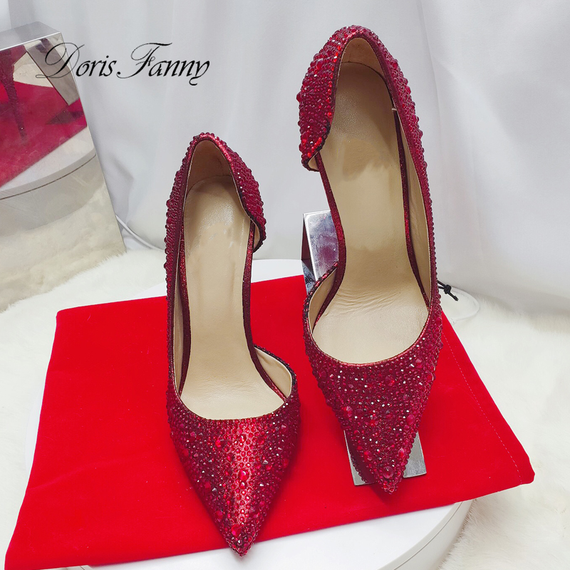 Doris Fanny Crystals Large Size Black Red Evening Shoes Woman Wedding Shoes Sexy Stiletto Women High Heels Party Shoes For Women