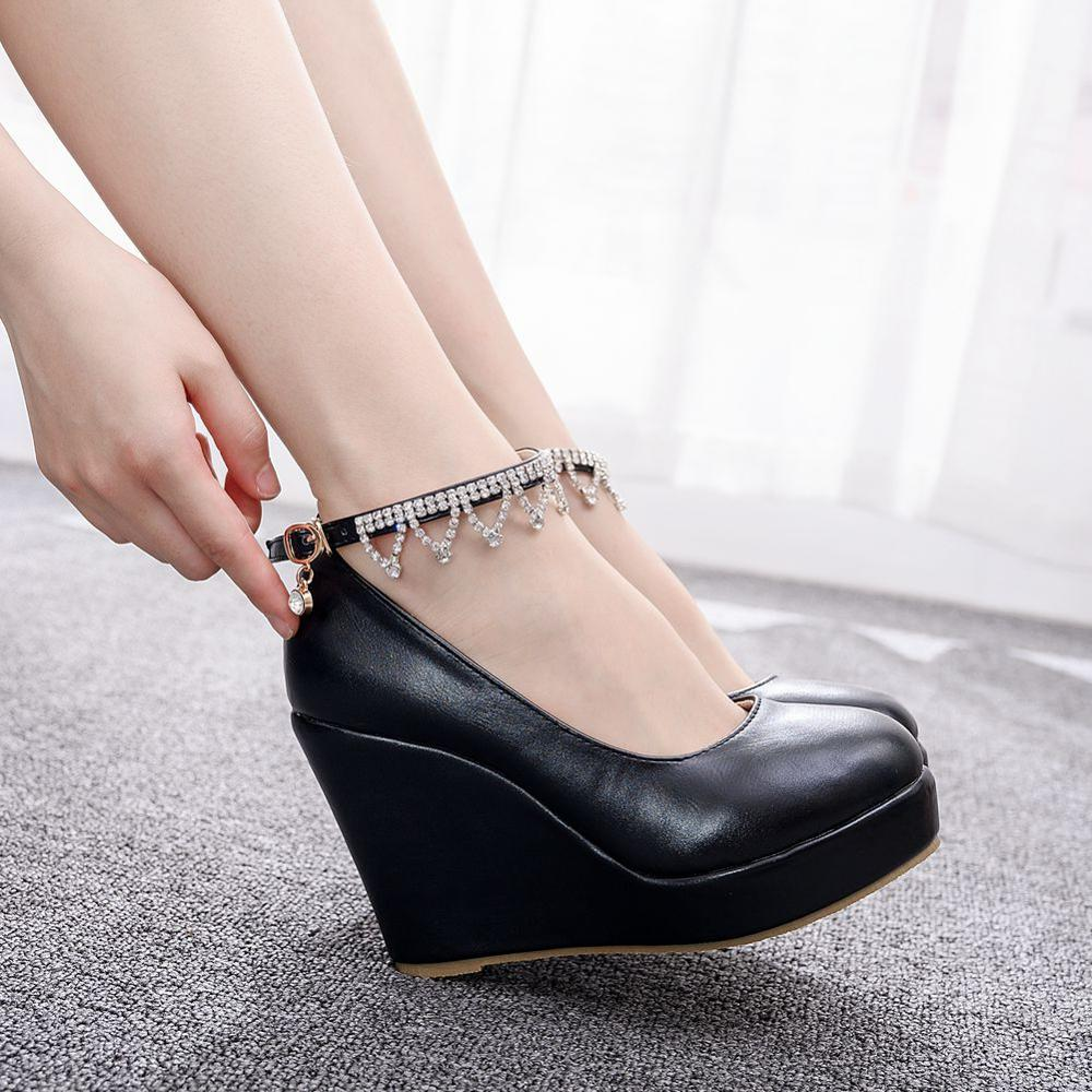 Crystal Queen Black And White Wedge Pumps Large Size Round Toe Super High Heels Women Wedding Shoes Platform Ankle Strap