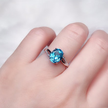 Natural Blue Topaz Ring S925 Silver Seiko Inlaid Main Stone 7*9mm Female Jewelry
