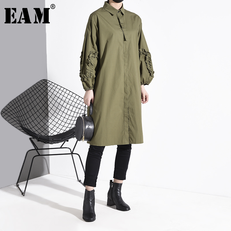 [EAM] Women Ruffles Split  Joint Big Size Long Blouse New Lapel Long Sleeve Loose Fit Shirt Fashion Spring Autumn 2020 1S027
