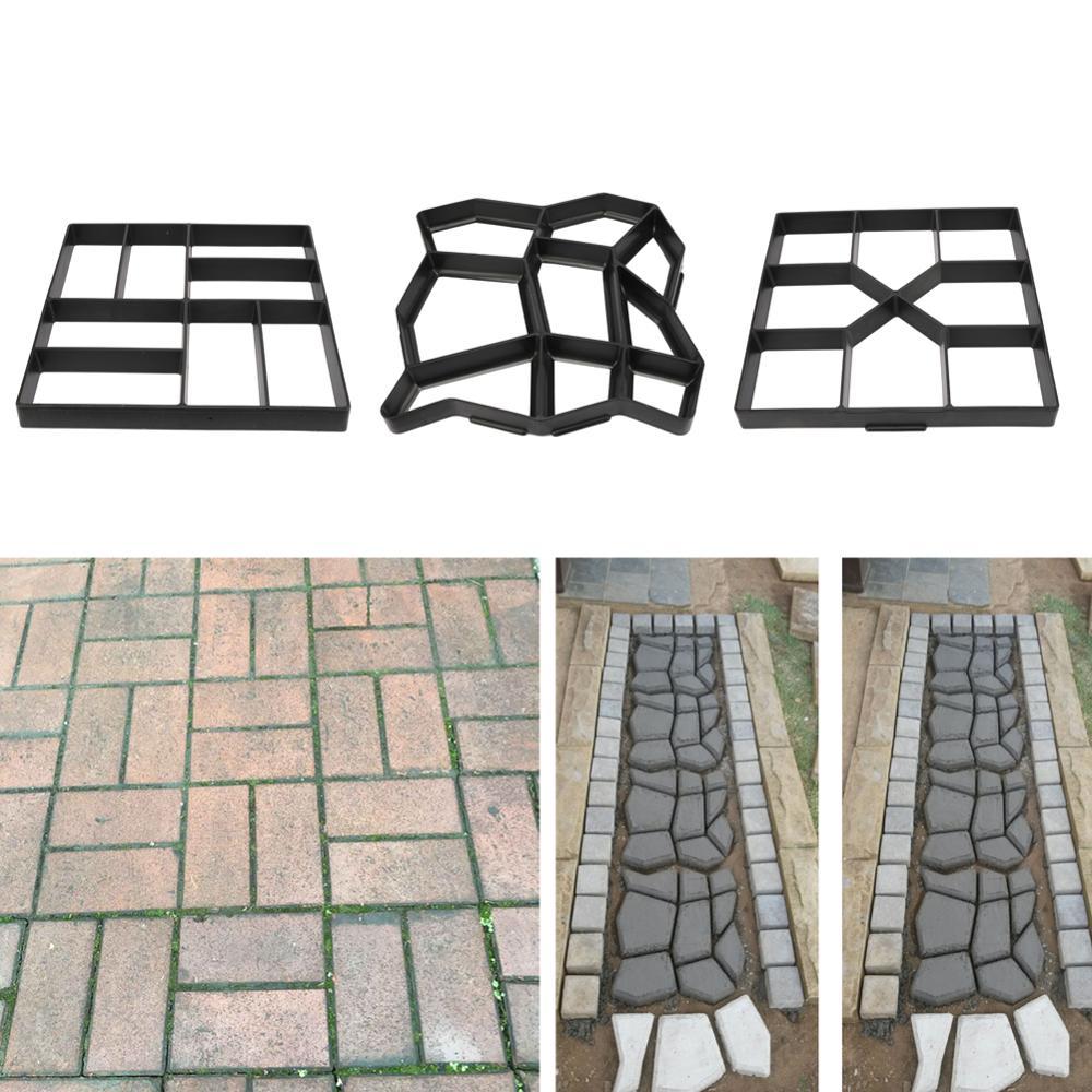 Plastic Path Maker Mold Reusable Concrete Cement Stone Brick Design DIY Manually Paving Paver Walk Mould Garden Building Tool