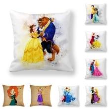 Disney Beauty and the Beast Jasmine Snow White Cushion Cover PillowCase Decorative/Nap Room Sofa Baby Children Gift 45x45cm