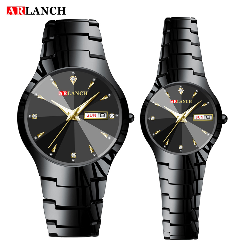 Top Luxury Brand Couple Watch Full Steel Watches Fashion Quartz Wristwatch Double Calendar Luminous Male Clock Relogio Masculino