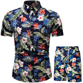 Мужская Летняя одежда, Пляжная гавайская рубашка, праздничная одежда, комплект из двух предметов, летняя мужская одежда, рубашка с принтом, ...
