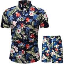 Roupas de verão dos homens praia havaiano camisa definir roupas de férias roupas de duas peças conjunto de verão roupas masculinas camisa de impressão