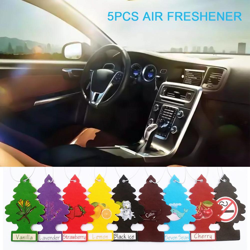 5Pcs Car Air Freshener Hanging Paper Tree Cardboard Royal Pine Scent For Home Car Decoration Random Fragrance Delivery