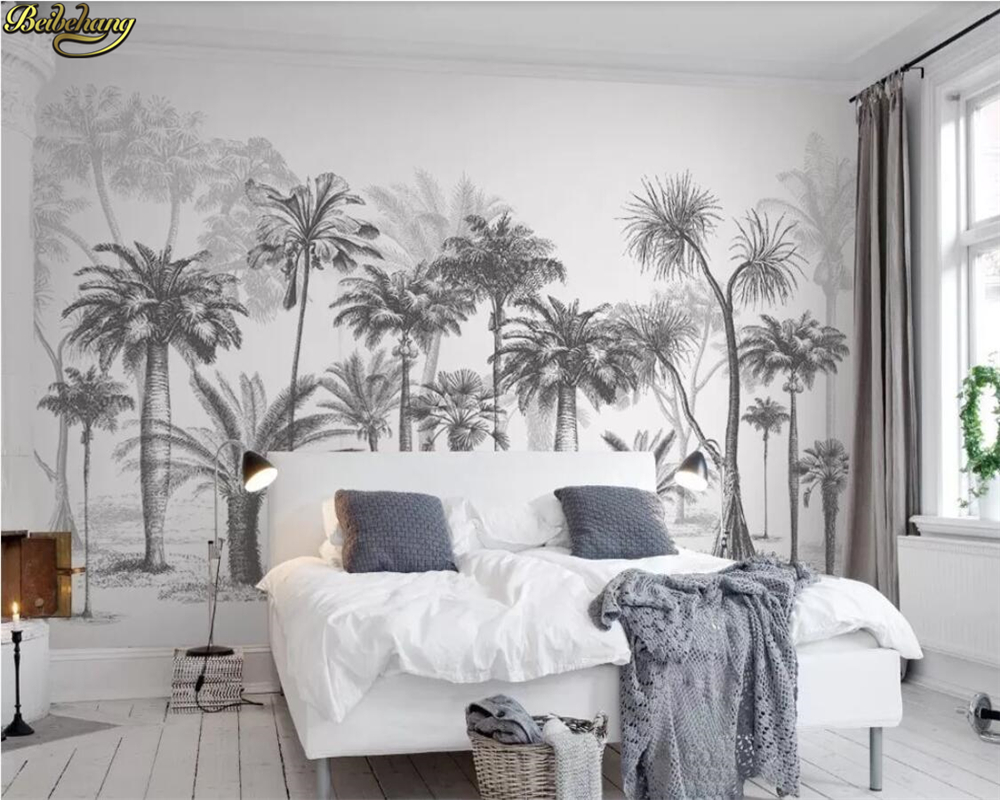 Beibehang Custom Wall Paper Mural Black And White Sketch Tropical Rainforest Coconut Tree Nordic TV Sofa Background 3d Wallpaper