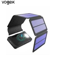 Vogek Solar Folding Power Bank 16000mAh Qi Wireless Solar Charger Magnet Foldable Wireless External Battery with LED Light