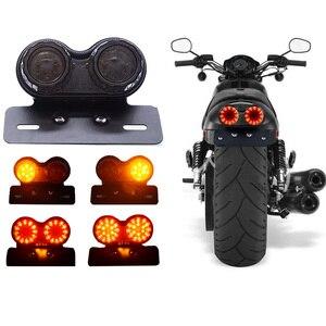 Universal Motorcycle LED Taillight Retro Motorbike Rear Stop Brake Light License Plate Lamp Turn Signal Indicator for BMW Harley