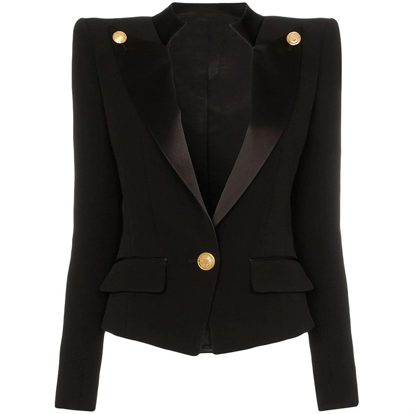 Blazer Women Female Suit Jacket Classic One-Button Buckle Satin Collar Slim-Fit Small Suit Jacket Womens Jacket Slim Coat