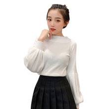 Lantern Sleeve Slim Pullover Sweater Women New Word Collar Solid Color Casual Fashion Long Slim Sweater plum perkins collar long lantern sleeves sweater