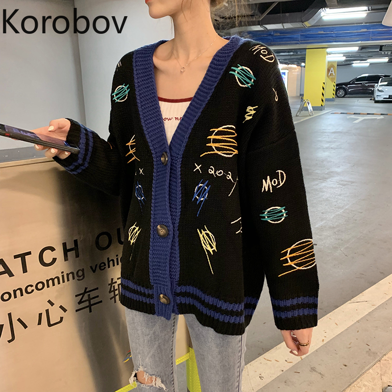 Korobov Preppy Style Cartoon Embroidery Female Cardigans Korean Long Sleeve V-Neck Sweaters Harajuku Knitted Sueter Mujer 79208