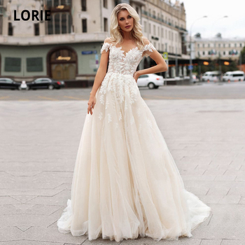 LORIE Champagne Tulle Wedding Dresses Beach Boho Lace Appliques Bridal Gown O-neck illusion Short Sleeve Vintage Wedding Gowns lorie champagne tulle wedding dresses beach boho lace appliques bridal gown o neck illusion short sleeve vintage wedding gowns