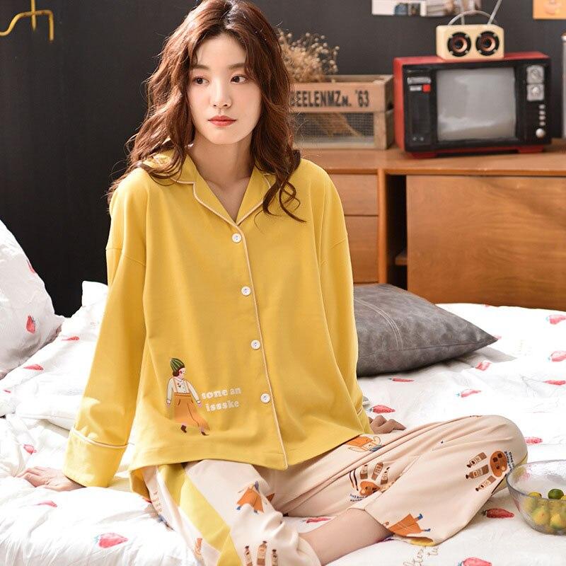 Tonmodi Дамский пижамный комплект весна и осень тонкий японский сладкий мультфильм печати с длинным рукавом милый Кукла Пижама с воротником Повседневная - Цвет: 6939