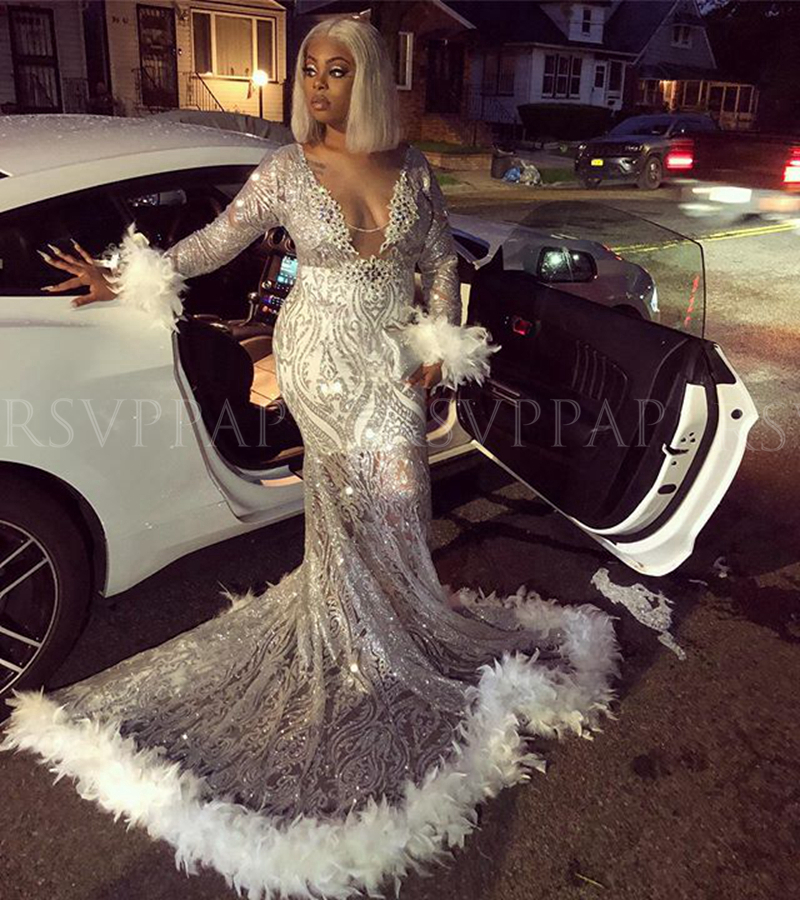 Silver Mermaid Prom Dresses 2020 Sexy Long Sleeve African Black Girls Sequin Feather Women Gala Party Prom Gowns