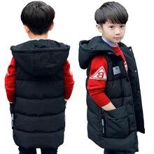 Bebek erkek yelek 2 13T çocuklar uzun stil sıcak yelek bebek kız bahar pamuk yastıklı kapşonlu çocuk sıcak ceket genç snowsuit