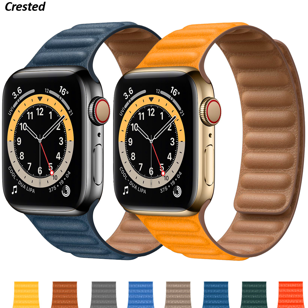 Silicone/Leather Link For Apple watch band 40mm 44mm 42mm 38mm 42 mm 1:1 Magnetic Loop bracelet iWatch series 6 5 4 3 SE strap