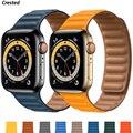 Ремешок силиконовый/кожаный для Apple watch band 40 мм 44 мм 42 мм 38 мм 42 мм 1:1, магнитный браслет для iWatch series 6 5 4 3 SE