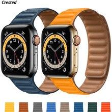 Silikon/Leder Link Für Apple uhr band 40mm 44mm 42mm 38mm 42mm 1:1 Magnetische schleife armband iWatch serie 6 5 4 3 SE strap