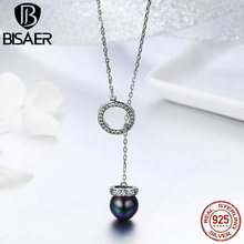 BISAER 100% Authentic 925 Sterling Silver Round Circle Black CZ Women Pendant Necklace Sterling Silver Necklace Jewelry GXN200 bisaer authentic 925 sterling silver gold color mosaic red cz heart pendant necklace for women valentine s gifts jewelry gan014
