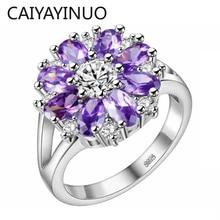 Cellacity חינני פרח בצורת כסף 925 תכשיטי אבני חן טבעת לנשים רובי אמטיסט אבקת קריסטל חרצית היכרויות