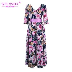 Image 5 - S.FLAVOR Bohemian Printing Long Dress O neck 3/4 Sleeve Big Hem Women Autumn Winter Casual Dress Elegant Party Vestidos De