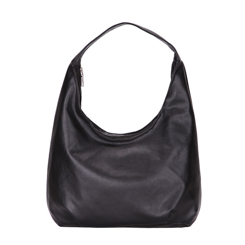 Fashion Women European Casual Black Shoulder Bag 2019 Luxury Brand PU Leather Handbag Solid Color Ladies Zipper Bag Clutch Purse