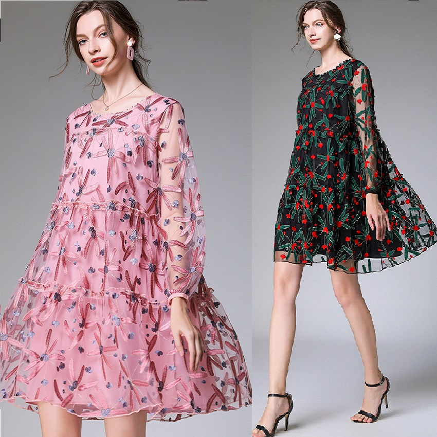 Spring Ladies Plus Size Loose Fit Embroidery Dress Elegant Faux Silk Loose Party Dress Cute Party Flare Dress Vestidos XXXXL 4XL