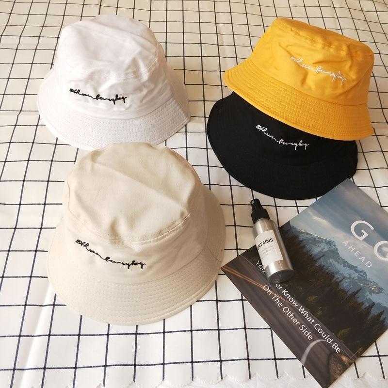 Fashion Embroidery Letter Bucket Hat Hip Hop Beach Women Panama Outdoor Sports Flat Top Fishing Men Cap Fisherman Sun Hat