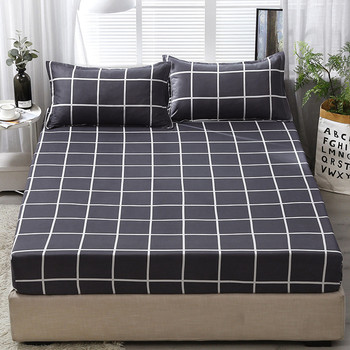2019 new products Polyester fiber Bed cover Fitted Sheet Pillowcases  2/3  Pcs Luxury Lattices Stripes Bedding.