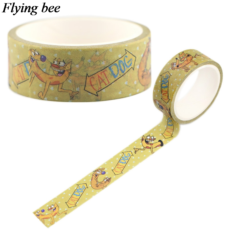 Flyingbee 15mmX5m Catdog Cute Washi Tape Paper DIY Decorative Adhesive Tape Stationery Cartoon Masking Tapes Supplies X0549