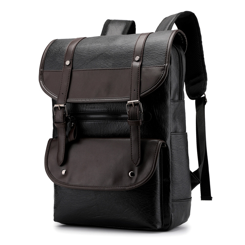 Men's Vintage Leather Backpack Men Bag Laptop Bagpack 15.6 Inch Notebook Leather Backpacks For School Bags Casual Travel Mochila
