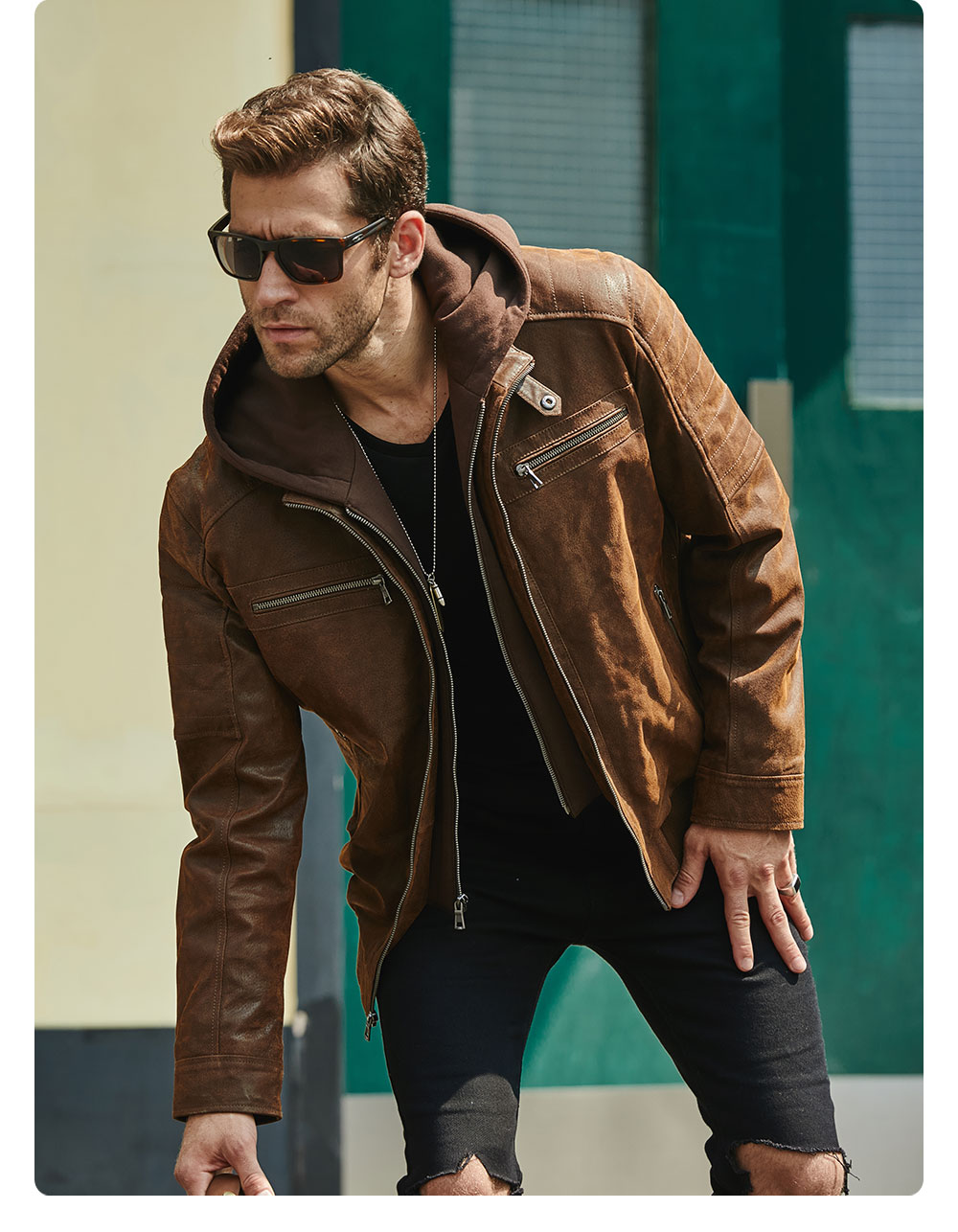 Hb7a4daaac4b244399294e0284ca40766J New Men's Leather Jacket, Brown Jacket Made Of Genuine Leather With A Removable Hood, Warm Leather Jacket For Men For The Winter