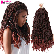 "цена на 18"" Goddess Nu Locs Crochet Hair Ombre Braiding Hair Extension Synthetic Soft Messy Boho Faux Loc New Hairstyle Hair Expo City"