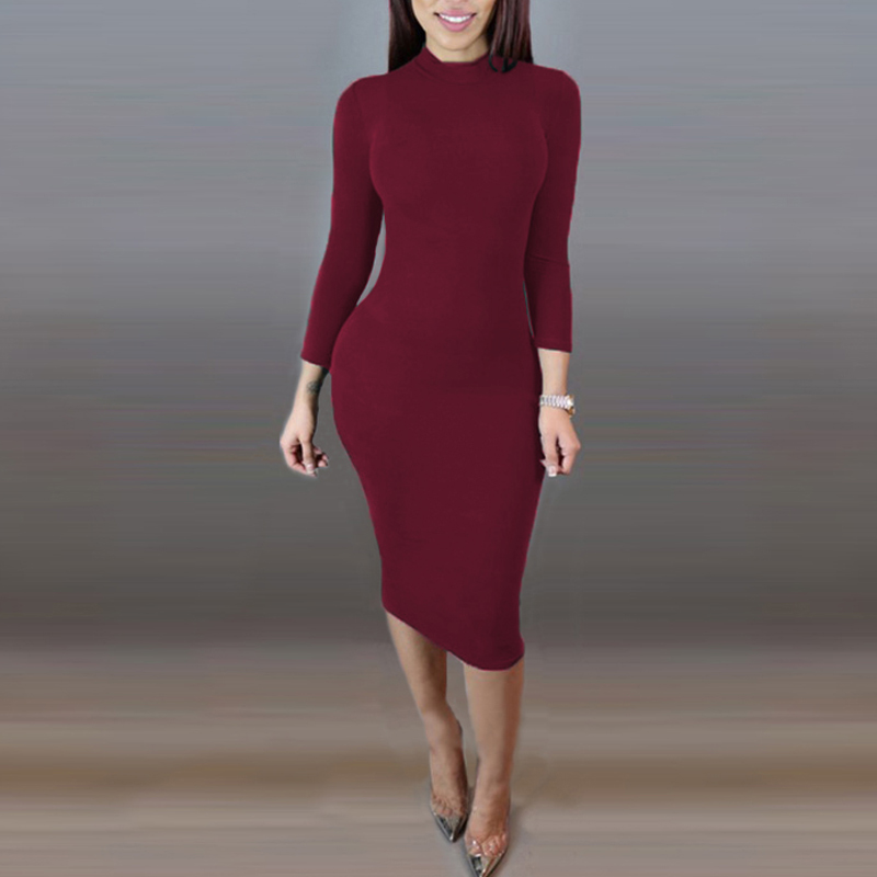 ZANZEA Women Spring Autumn Bobycon Dresses Slim Elastic Turtleneck Long Sleeve Elegant Package Hip Robe Dresses Vestidos Mujer 7