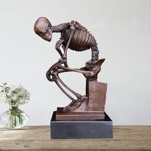 Acessórios de decoração para casa rodin bronze arte estátua escultura para decoração maison crânio decoração estátua escultura decoração para casa