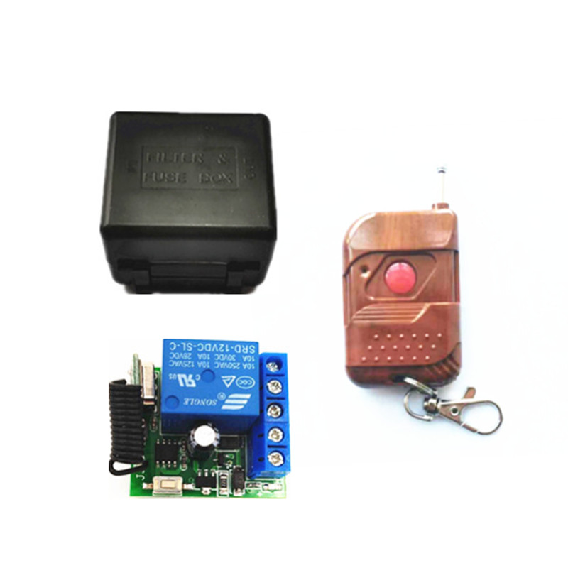 433Mhz Universal Wireless RF Remote Control Switch DC 12V 10A 1CH relay Receiver Module and 433.92 Mhz 1 key Remote Controls image