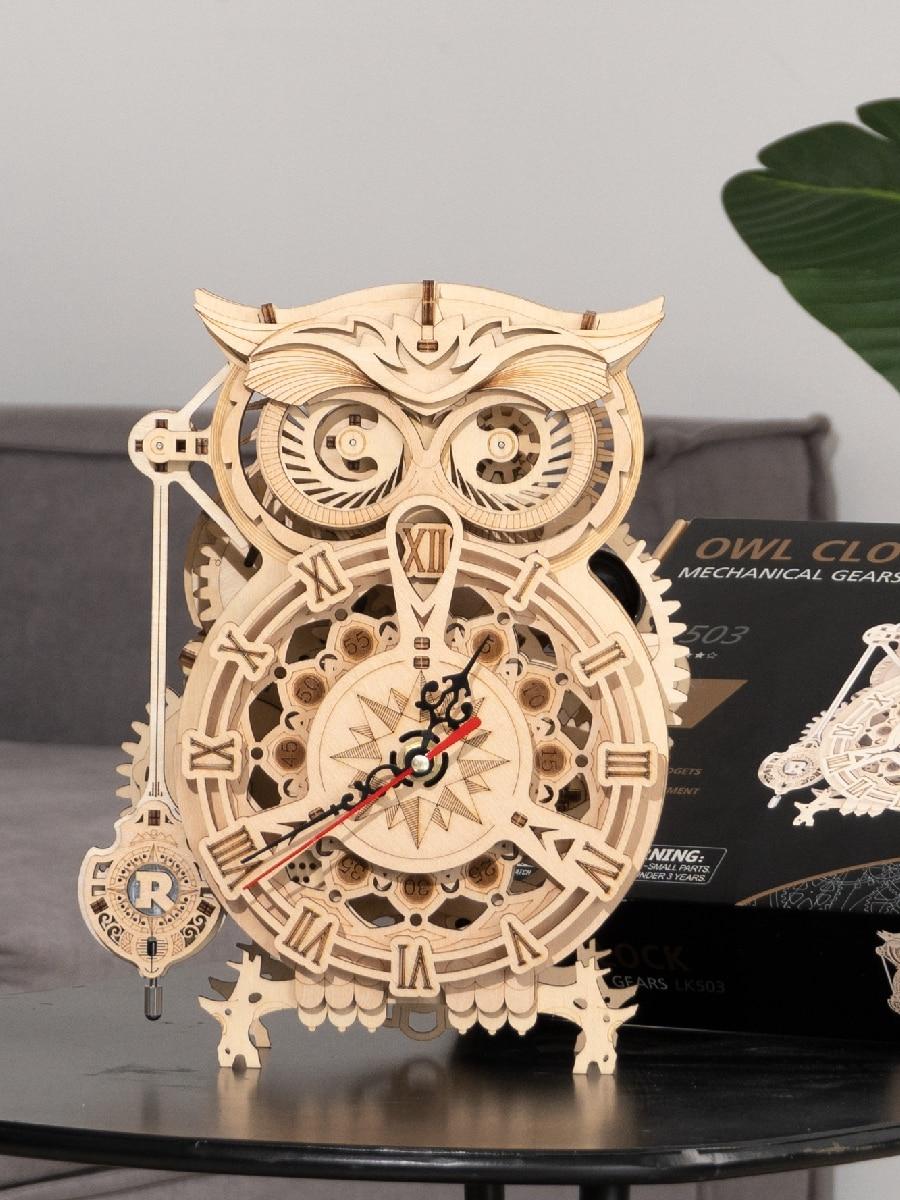 Assembly-Toy Building-Block-Kits Wooden Model Owl-Clock Gift Robotime DIY Rokr LK503