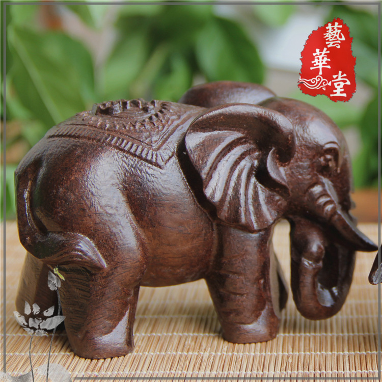 Elephant Figurines Craft Carved Natural Wooden Mineral Crystal Mini Animals Statue For Decor Chakra Healing  Home Decoration