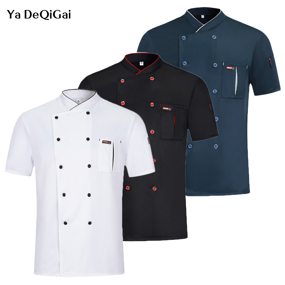 Chef Short Sleeve Uniforms Men And Women Restaurant Kitchen Chef Jacket Hotel Waiter Workwear Double Breasted Chef Coat Uniform