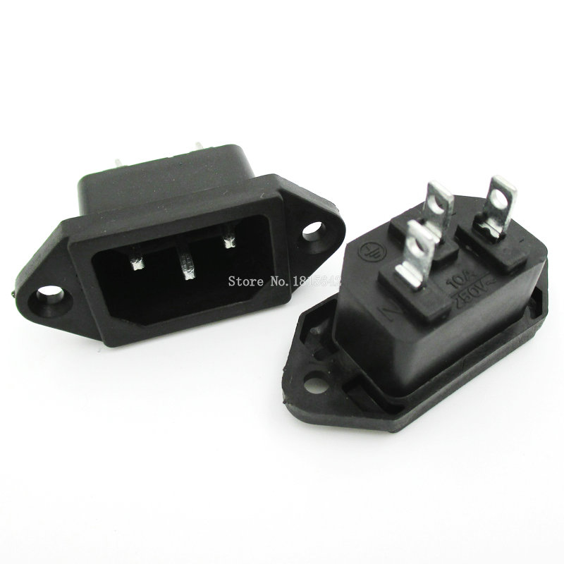 5PCS/LOT <font><b>3Pins</b></font> Male Plug Panel Power Inlet Sockets Connectors AC <font><b>250V</b></font> <font><b>10A</b></font> AC-04 AC Power Socket image