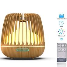 500ML ארומה חיוני שמן מפזר אולטרסאונד אוויר אדים עץ תבואה 7 צבע שינוי LED אור מגניב ערפל Difusor עבור בית