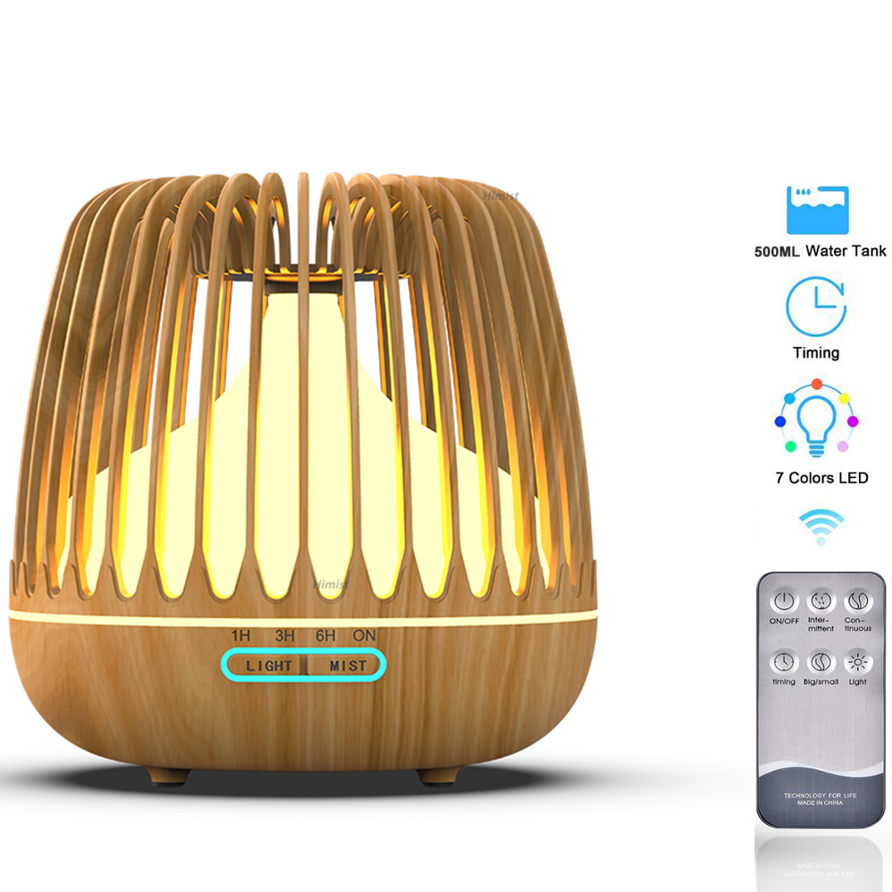 500ML Aroma Essential Oil Diffuser Ultrasonic Air Humidifier Wood Grain 7 Color Changing LED Light Cool Mist Difusor For Home