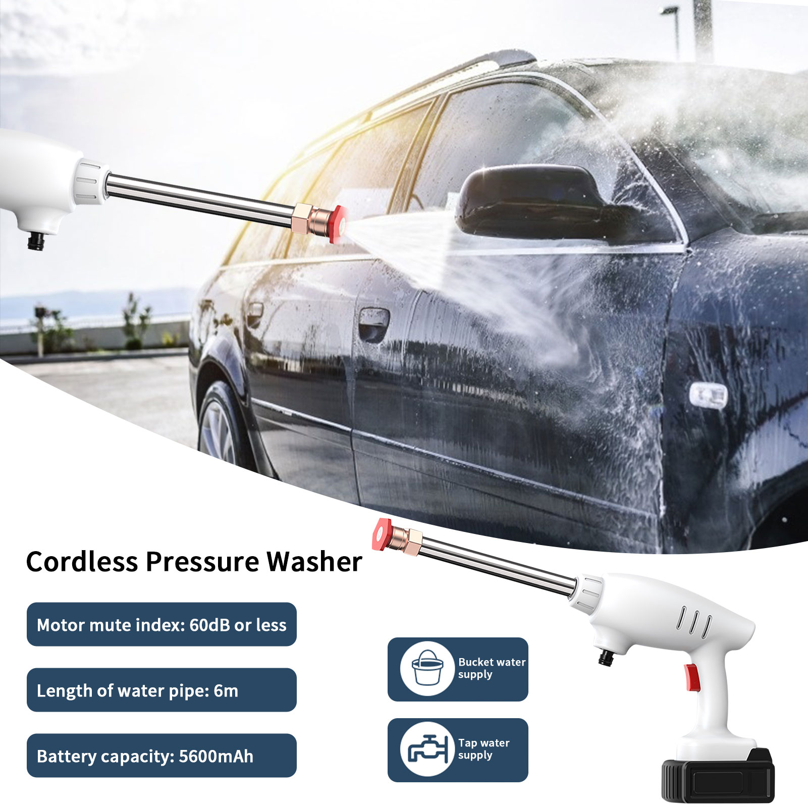 High Pressure Car Washer Gun Auto Device Electric Pressure Washer Cleaning Tool Washer Portable Cordless Car High Power Cleaner