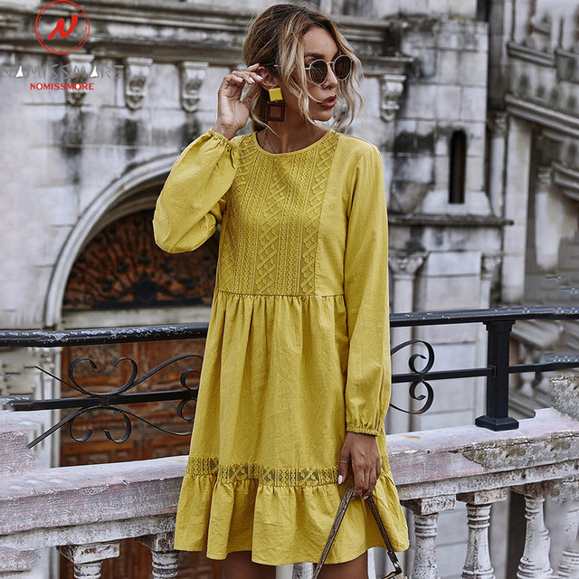 Women Solid Color A-Line Dress Patchwork Design Lace Ruffles Decor O-Neck Long Sleeve High Waist Slim Spring Autumn Mini Dress 1