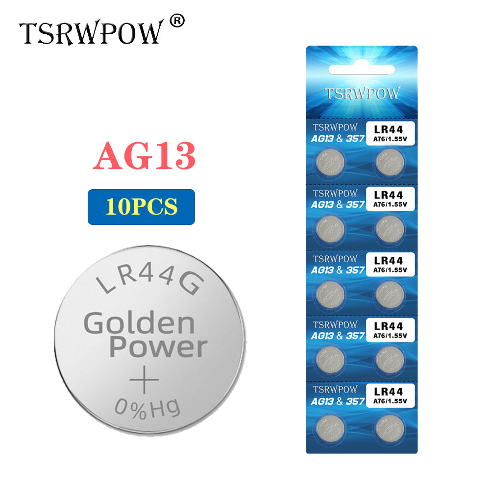 TSRWPOW 10PCS/PACK 1.55V AG13 Button Cell Battery LR44 RW82 RW42 SR44SW L1154 Lithium Coin Batteries For Watches Remote Toy